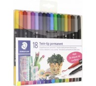 Фломастеры перманентные двусторонние. 18 цветов