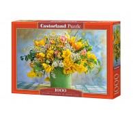 Пазл 1000 элементов Весенние цветы в зеленой вазе