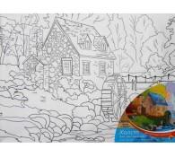 Холст для рисования, 30х40 см, ДОМИК В ДЕРЕВНЕ, с красками