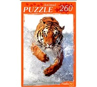 Пазл 260 элементов. Бегущий по воде тигр