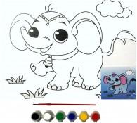 Картина-раскраска для детей 24х30 Слоник