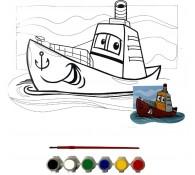 Картина-раскраска для детей 24х30 Кораблик