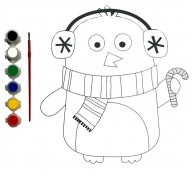 Картина-раскраска для детей 24х30 Пингвин