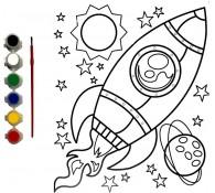 Картина-раскраска для детей 24х30 Ракета
