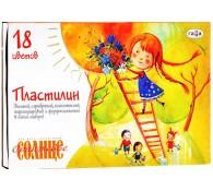 Пластилин флуоресцентный 18 цветов /Оранжевое солнце/ со стеком