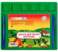 Доска для лепки Цветик А4 цветная 7 ячеек + 2 стека