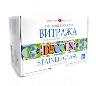 Набор акриловых красок для витража Decola 6 цв 20 мл