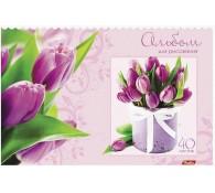Альбом для рисования Тюльпаны цвет фиолетовый 40 листов